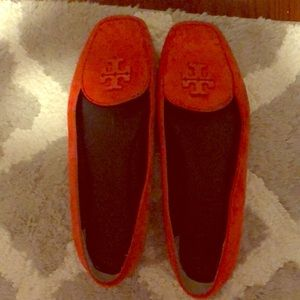Tory Burch orange loafers. Size 8.